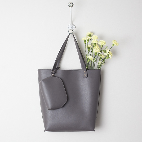 Grey Faux Leather Handbag Gray
